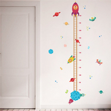 Diy Outer Space Planet Pilot Rocket Growth Chart Home Decor Height Measure Wall Stickers Kids Boy Room Baby Nursery mural(China)