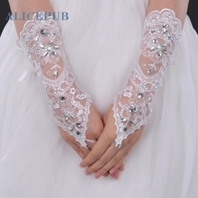 Ivory Lace Fingerless Elbow Length Bridal Gloves with Rhinestone Bridal Accessories Women Evening Party Decoration Free Shipping