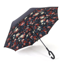 Drop Shipping Windproof Reverse Folding Double Layer Inverted Chuva Umbrella women and men Rain Protection C-Hook Hands For Car(China)