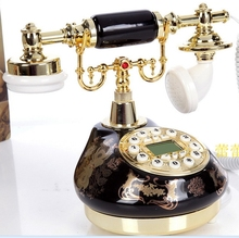 Black ceramic retro phone antique telephones / Redial/ Hands-free/ backlit version Caller ID(China)