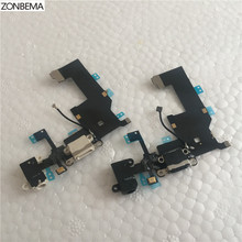 ZONBEMA Charger Charging Port Dock USB Connector Flex Cable For iPhone 5 5G Headphone Audio Jack Flex Ribbon(China)