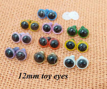 color you can choose ---40pcs 12mm round shape plastic safety toy eyes&white washers for plush bear doll accessories(China)