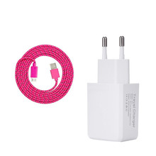 for samsung nokia Asus Zenfone 2 Max ZC550KL alcatel Elephant cat s60 android 2a EU/US Adapter & nylon micro usb Charger cable