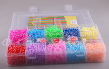 Storage box Rubber Loom Bands Kit for Kids & Adults 2200pcs colorful bands1 hook+1 loom+48 clips+6 charm rubber band set(China)