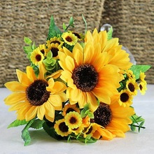 1 Bouquet Lifelike Artificial Sunflower Artificial Plastic Sunflower Heads Home Party Decorations Props 2016
