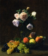 Still Life: Vase Of Roses, Peaches And Grapes - By Henri Fantin-Latour - Unframed