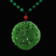 Hetian natural green stone hand carved stone kylin Pendant Fashion Ladies sweater chain pendant jewelry