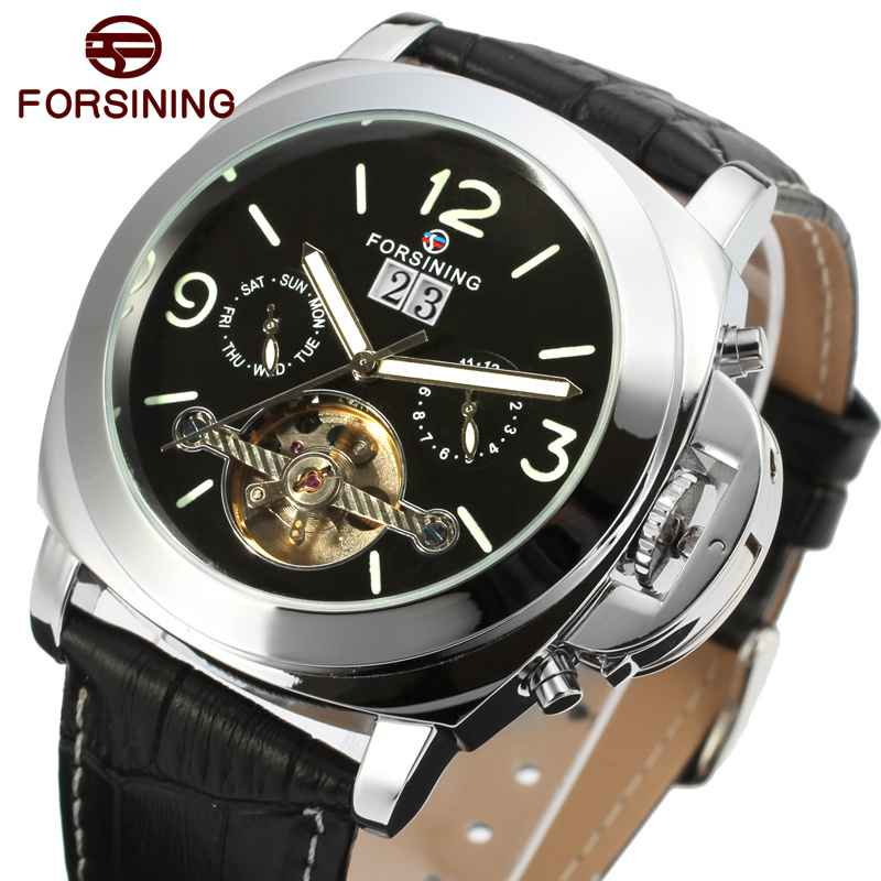 2017 Forsining Leather Automatic Watch Mens Watches Top Brand Luxury Sports Men Military Waterproof Tourbillon Mechanical Watch<br>