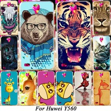 Hard Plastic Soft TPU Silicon Phone Case For Huawei Y5 Y560 Y560-L01 4.5'' Cover Colorful Animal Bags Hood Shell Housing Skin