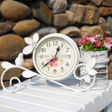 Rural Style Metal Bird clock Home Decoration  Handwork  Garden Table clock  With Pen Pot Black White Colour