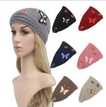 2016 New 5pcs Women Butterfly Flower Turban Soft Knit Headband Beanie Crochet Headwrap For Women Party Boho Hair Accessories