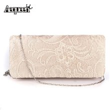 AEQUEEN Bridal Wedding Satin Evening Bags Lace Floral Day Pouch Clutches Women Messenger Shoulder Bag Purse Party Women Handbags