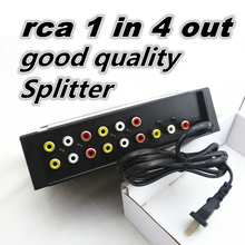 high quality 4 Way 1 In 4 Out 3 RCA Video Audio AV Amplifier Splitter HDTV DVD VCD 4 Ports Load AV Switch YS400(China)