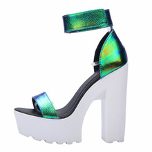 Hot Laser PU Sandals 2015 New Ultra Platform Thick High Heels Sandals Sexy Peep Toe Shoes For Women  Fashion A word Belt Sandals