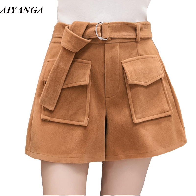 HEYounGIRL Frauen Khaki Hohe Taille Shorts 2018 Sommer Mode Taschen Büro Damen Korean Short Shorts Beiläufige Lose Kurze Hosen