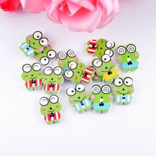 Free Shipping Retail 10Pcs Random Mixed Lovely Cartoon Frog 2 Holes Multicolor Wood Sewing Buttons Scrapbooking 21mmx16mm(China)