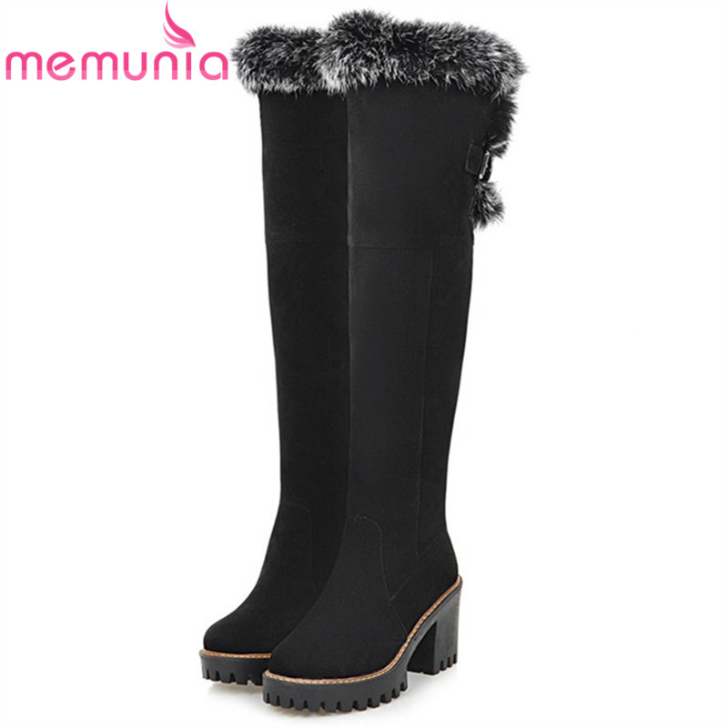 MEMUNIA Large size 34-43 over the knee boots fashion shoes women keep warm snow boots high heels shoes winter boots flock<br>