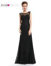 Long Black Prom Dresses 2017 Plus Size Ever Pretty EP08754BK Women Lady Sexy Lacy Evening Party Cheap(China)