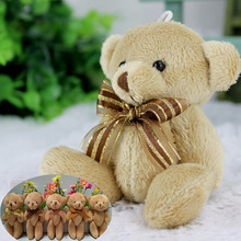 24pcs/lot Promotion gifts 12CM bow tie brown teddy bear mini joint plush keychain bear bouquet phone pendant,5 styles to choose