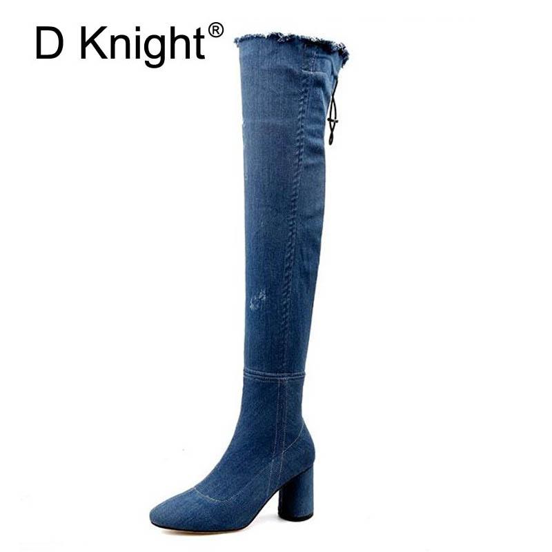Hot Selling Womens High Heels Denim Boots Sexy Stretch Fabric Over The Knee Boots Ladies Casual Square Heels High Boots <br>