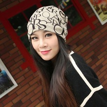 Fashion Spring Autumn Knitted Cotton Hats Beanies For Adult Women Print Letter Multifunctional Caps Skullies