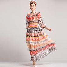 Elegant Long Dresses Women Fashion 2017 Early Autumn Flowers Print Slim Exquisite Ladies Fresh Loose Hot Sale Long Dress(China)
