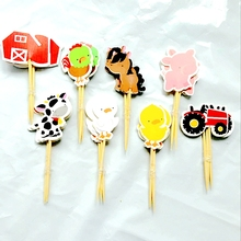 48pcs Farm Cake toppers Animal Party Cupcake picks cases petting zoo kids birthday party decoration baby shower Cake baking Deco