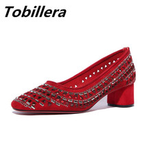 Tobillera Fashion Rhinestone Decor Medium Heels Red Black Pumps Suede Leather Round Toe Elegant Ladies Comfortable Slip On Shoes(China)
