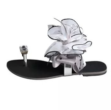 Sweet Jelly Summer Women's Rhinestone Sandals Peep Toe Big Ribbon Bowtie Knot Transparent Material Flat Shoes Woman 2118