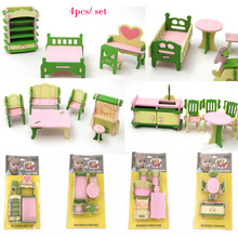 4pcs/ set Mini Dollhouse furniture toy miniature kitchen living room green bed stool table toy gift  girl kids dolls accessories
