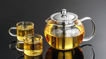 1SET Heat Resistant Glass Tea Pot Flower Tea Set Puer kettle Coffee Teapot With Infuser 1PC teapot+2pcs Cup  J1010
