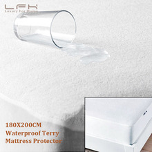 LFH 180X200CM Cotton Terry Mattress Cover 100% Waterproof Hypoallergenic Mattress Protector For Mattress Pad cheap pad baby care(China)