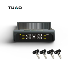 TUAO Car TPMS Tire Pressure Monitoring System Solar Power Charging LCD Display Internal Sensor Auto Alarm System Car electronics(China)