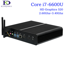 Barebone Mini PC Intel 6th Gen. i7-6600U Dual Core CPU,Fanless Desktop Computer,Intel HD Graphics 520,1*DP+1*HDMI,Windows 10 Pro(Hong Kong)