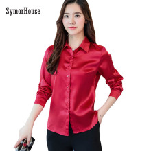 SymorHouse 2018 New Women high quality silk satin blouse button lapel long sleeve shirts ladies office work elegant female Tops(China)