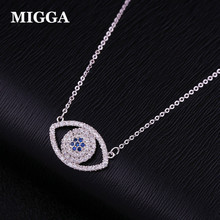 MIGGA 2017 Luxury Blue Cubic Zirconia Pave Evil Eye Women Necklace Rose Gold Color CZ Crystal Choker Chain Jewelry(China)