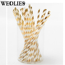 25pcs/lot Foil Paper Straws for Wedding Baby Shower Birthday Party Decorative Gold Silver Drinking Straws Supplies