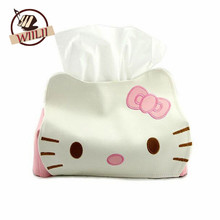 1PCS PU Leather Hello Kitty Cute Home Car Tissue Case Box For Napkin Papers Decoration Holder Box Cover New