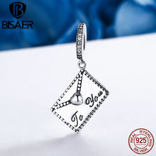 Trendy New 100% 925 Sterling Silver Love Letter Post Mail Pendant Beads fit Original Pandora Charm Bracelet Bangle Jewelry Gift(China)