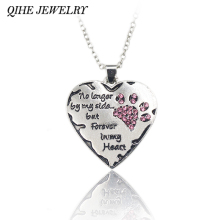 "QIHE JEWELRY ""no longer be my side but forever in my heart"" Pink White Silver Crystal Cats Dogs Paws Claw Print & Heart Necklace(China)"
