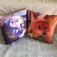 Free Shipping 33cm*33cm Movie Zootopia Zootropolis Plush Pillow Toys Judy Hopps and Nick Wilde Sided pattern Pillow/Cushion