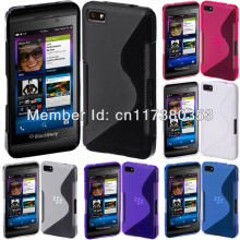 Clear Soft TPU Gel S-Line Curve SKin Cover Case for Blackberry Z10 Black Blue Pink Purple White(China)