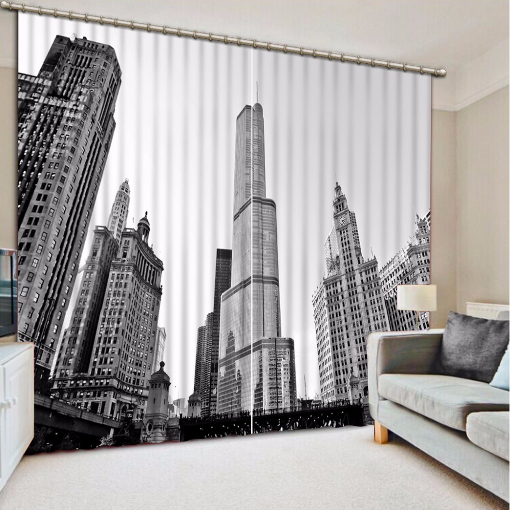 Window Blackout Curtain city view Modern Curtains Living Room Bedroom Home Decoration Children Room Curtains