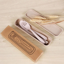 1 set Eco-Friendly Wheat Straw Tableware Portable Cutlery Travel Fork Hiking Camping Picnic Dinnerware Set