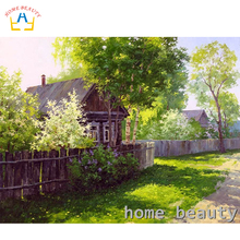 HOME BEAUTY diy oil painting by numbers landscape trees decorative canvas painting calligraphy coloring by number Y089(China)
