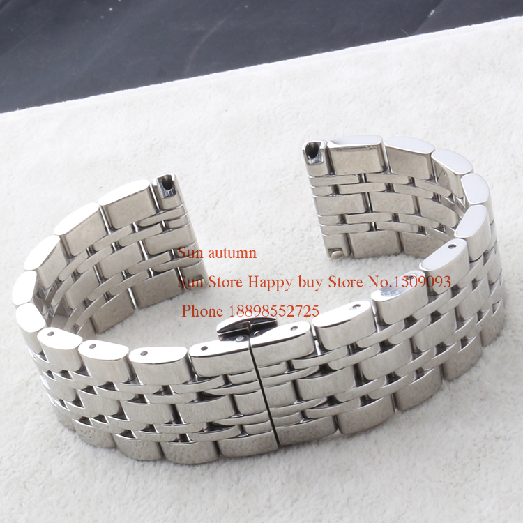 22mm Watchbands New Arrival 2015 Silver Stainless Steel Polished Bracelets For men watches Butterfly buckle clasp deployment Hot<br><br>Aliexpress