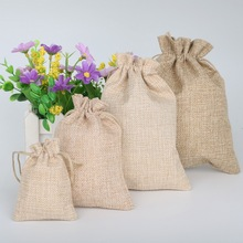 10pcs/lot Vintage Natural Burlap Hessia Jute Gift Candy Bags Rustic Wedding Party Favor Pouch Birthday Party Supplies(China)