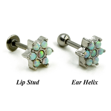Opal Flower Ear Tragus Stud Cartilage Earring Labret Piercing Lip Ring Body Jewelry Retainers 16g