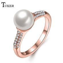 Tuker Fashion Pearl Jewelry Water fish pearl Ring Pearl Wedding Ring Plated rose gold Pearl Ring For Women Gift