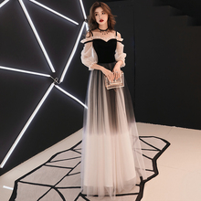 YIDINGZS Spaghetti Strap Gray Evening Dress Velour Tulle Party Elegant Long Dress(China)